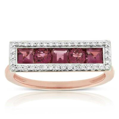 Rose Gold Pink Tourmaline & Diamond Rectangle Ring 14K