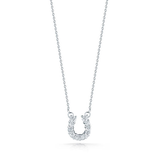 Roberto Coin Tiny Treasures Diamond Horseshoe Necklace 18K