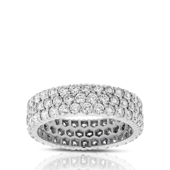 Three Row Diamond Eternity Ring in Platinum, Size 7