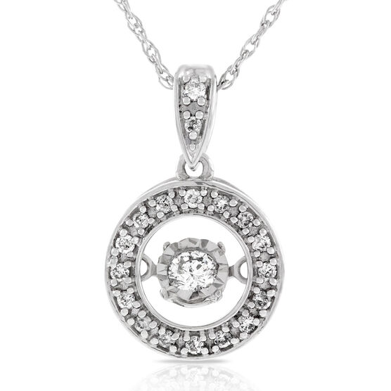 Love's Pulse Diamond Circle Pendant 14K