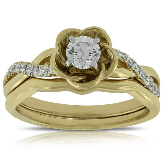 Flower Design Diamond Wedding Set 14K