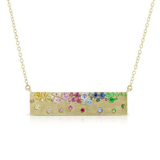 Rainbow Sapphire Bar Necklace 14K