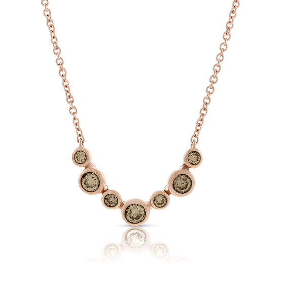 Rose Gold Brown Diamond Necklace 14K