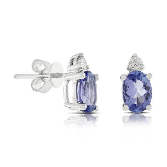Oval Tanzanite & Diamond Earrings 14K