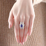 Oval Tanzanite & Diamond Shield Ring 18K