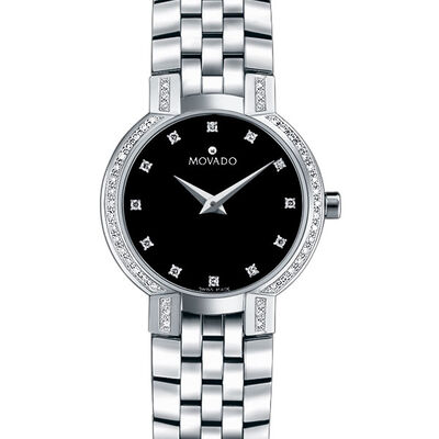Movado Faceto Diamond Bezel & Dial Watch