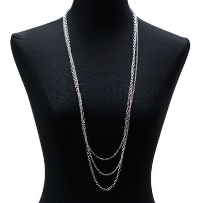"Lisa Bridge Three Row Chain Necklace, 36"""