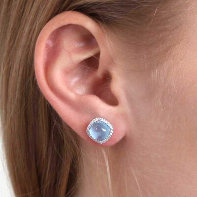 Cabochon Blue Topaz & Diamond Earrings 14K