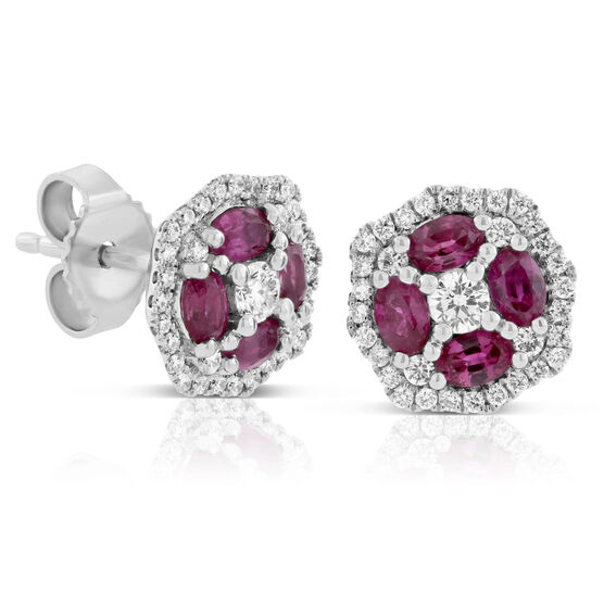 Floral Ruby & Diamond Earrings 14K