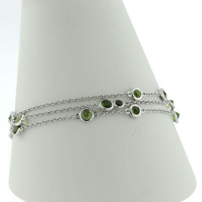 Lisa Bridge Three Row Bezel Set Peridot & Tourmaline Bracelet