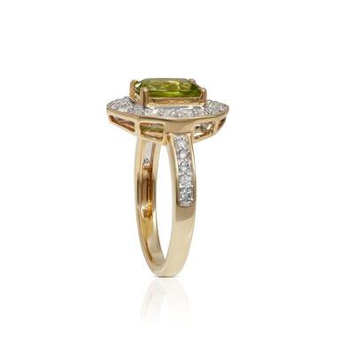 Arizona Peridot & Diamond Halo Two-Tone Ring 14K