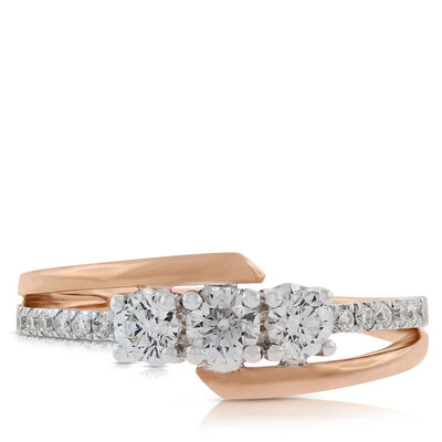 Rose Gold Diamond 3-Stone Ring 14K