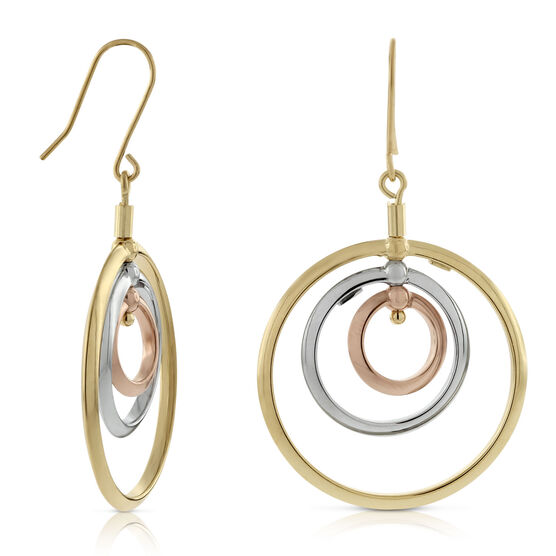Toscano Spinning Tri-Color Circle Earrings 18K