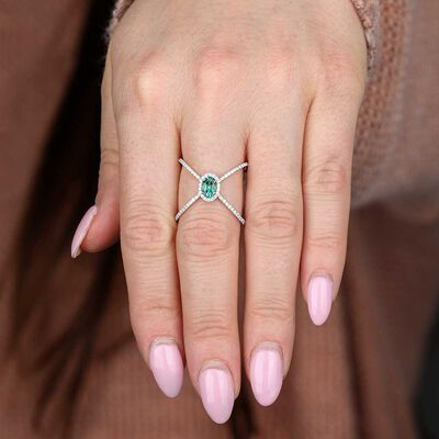 Emerald & Diamond Criss-Cross Ring 14K