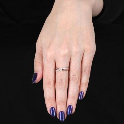 Rose & White Gold Diamond Ring 14K