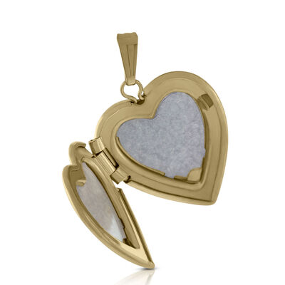 Hand Engraved Tri-Color Heart Cross Locket 14K
