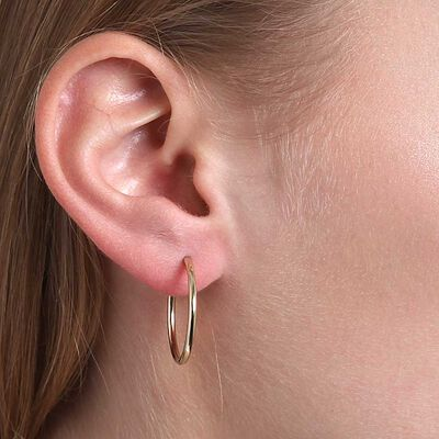 Smooth Hoop Earrings 14K