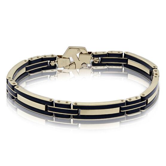 """Toscano Black Sectioned Resin Bracelet, 8.5"""",  14K"""