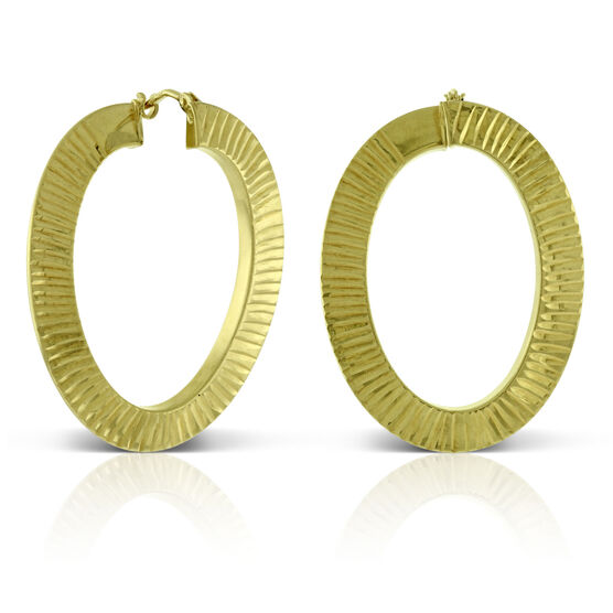 Toscano Front to Back Diamond Cut Oval Hoops 14K