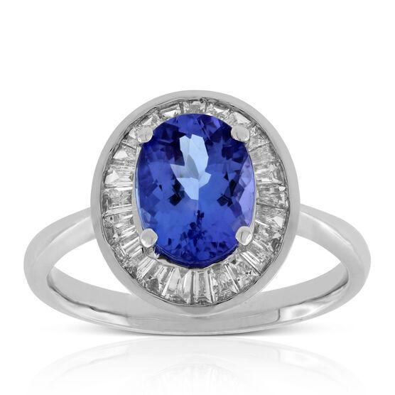 Tanzanite & Baguette Diamond Halo Ring 14K