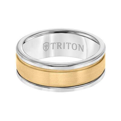 TRITON Custom Comfort Fit Satin FInish Band in Grey Tungsten & 14K, 8 mm