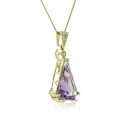 Modified Trillion Amethyst & Diamond Necklace