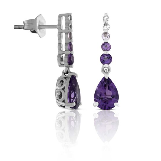 Amethyst & White Sapphire Earrings 14K