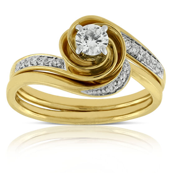 Swirl Diamond Bridal Set 14K