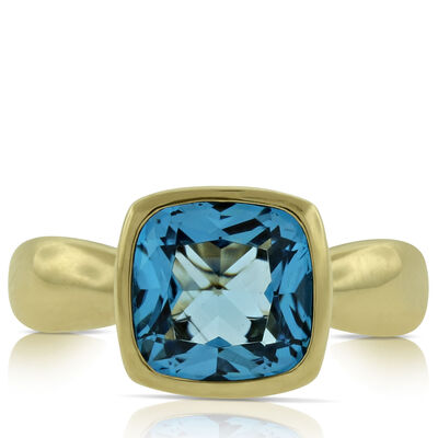 Bezel Set Blue Topaz Ring 14K