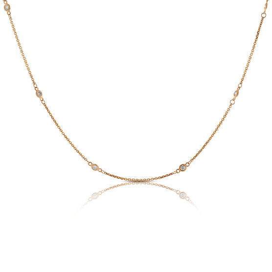 Rose Gold Diamond Station Necklace 14K, 1/3 ctw.