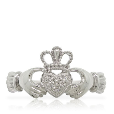 Claddagh Diamond Ring 14K