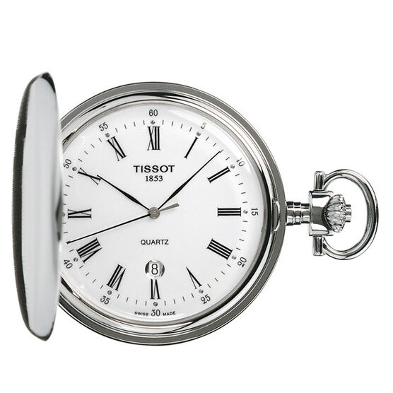 Tissot Savonnette White Dial Steel Quartz Pocket Watch, 48.5mm