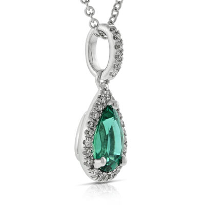 Pear Shape Emerald & Diamond Halo Pendant 14K