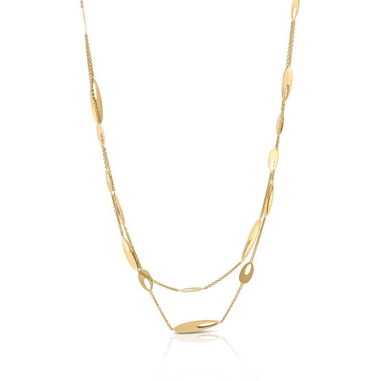Double Strand Oval Elements Necklace 14K