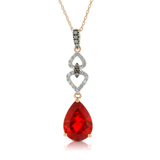 Rose Gold Fire Opal & Diamond Pendant 14K