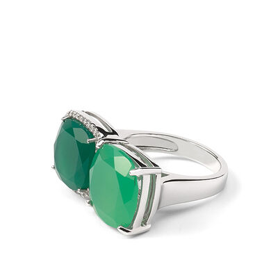 Lisa Bridge Chrysoprase & Chalcedony Ring