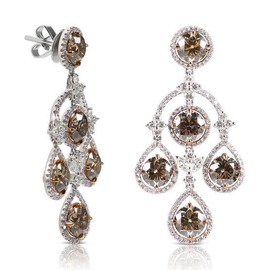 Brown & White Diamond Chandelier Earrings 18K