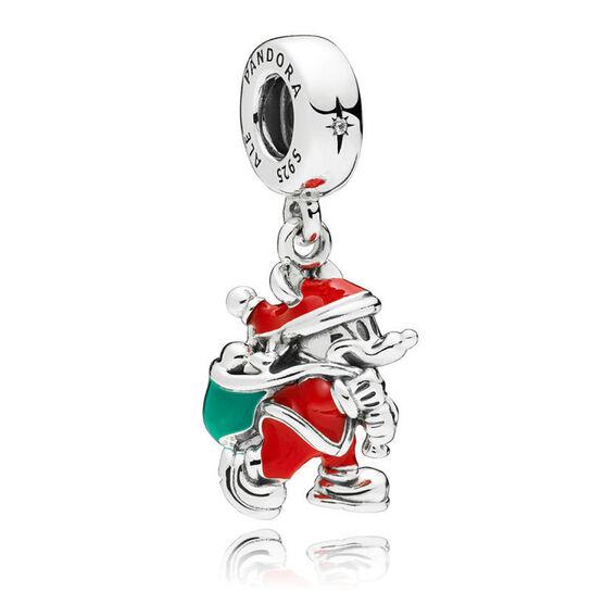 PANDORA Disney, Santa Mickey & Gift Bag Enamel & CZ Dangle Charm