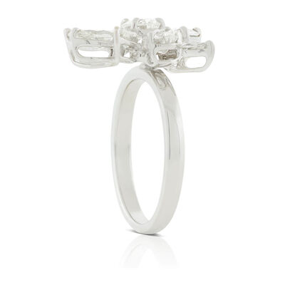 Marquise & Pear Diamond Cluster Ring 14K