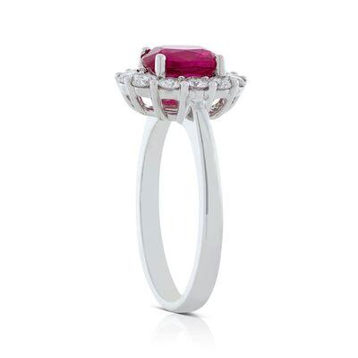 Oval Ruby & Diamond Halo Ring 14K