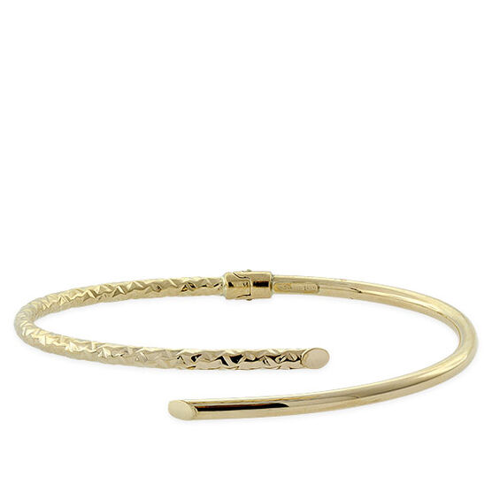 Gold Bypass Bangle Bracelet 14K