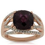Rose Gold Garnet & Diamond RIng 14K