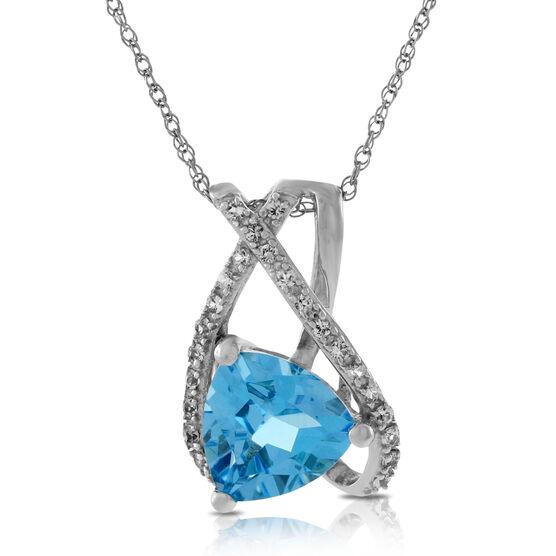Trillian Blue Topaz & White Sapphire Freeform Pendant 14K