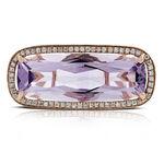 Rose Gold Sideways Amethyst Ring 14K