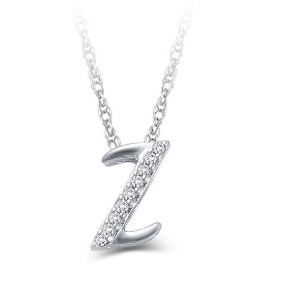 "Diamond ""Z"" Initial Pendant 14K"