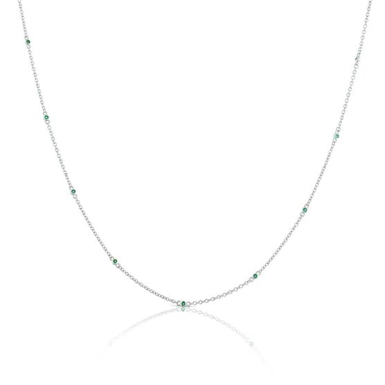 Bezel Set Emerald Necklace 14K