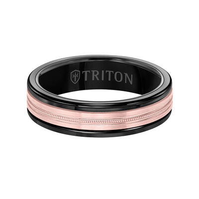 Rose Gold TRITON Custom Comfort Fit Milgrain Center Band in Tungsten & 14K, 6 mm