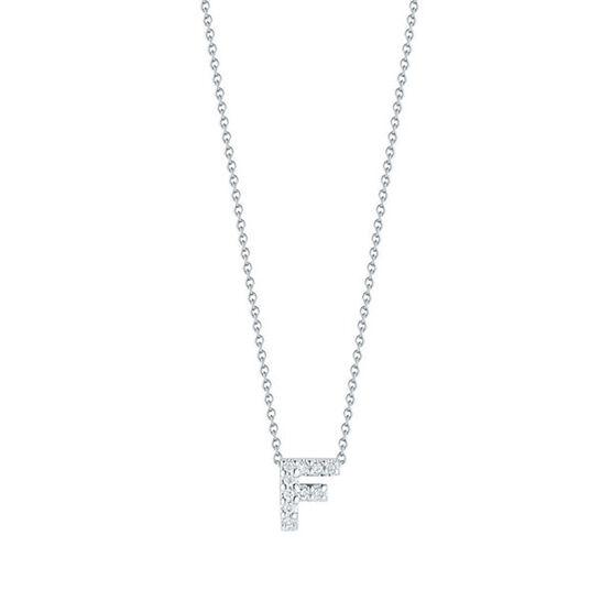 Roberto Coin Tiny Treasures Diamond Initial Pendant 18K Letter 'F'