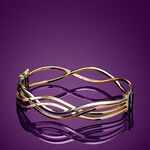 Toscano Tri-Color Wave Bangle Bracelet 18K
