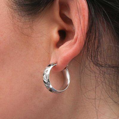 Toscano Laser Cut Out Hoop Earrings 14K